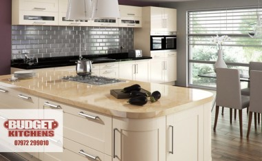 Amalfi cream gloss kitchen from Budget Kitchens Leeds