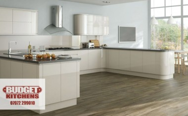Lucerne handleless gloss ivory kitchen from Budget Kitchens Leeds