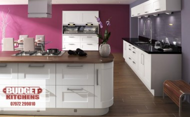 Sorrento white gloss reversed kitchen from Budget Kitchens Leeds