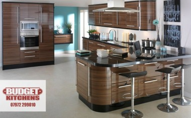 Walnut gloss kitchen from Budget Kitchens Leeds